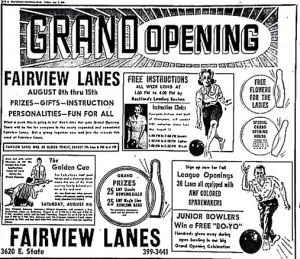 Fairview Lanes Advertisement, 1964
