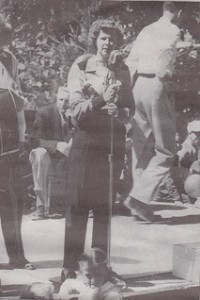 Laila Henry sings at American Cabinet Hardware picnic in 1948