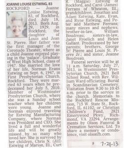 Joanne St. Pierre Estwing obituary