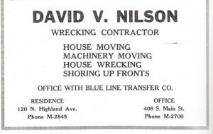 David V. Nilson Wrecking Company, 1930