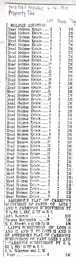 Holmes - 1910 Property Tax
