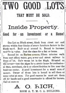 Harlem Boulevard advertisement, 1891