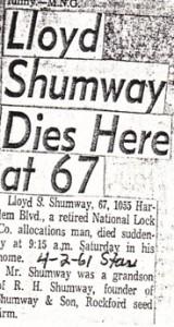 Lloyd S. Shumway Obituary, 1961