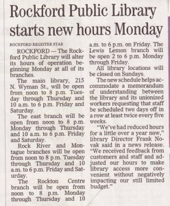 Rockford Public Library Hours, 2011