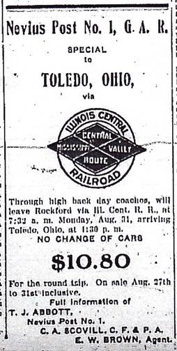 G.A.R. Nevius Post Advertisement, 1908