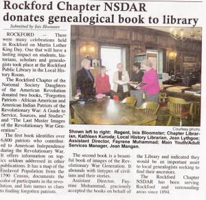 NSDAR Donates to Rockford Public Library