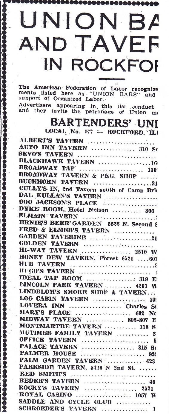 Union Bartenders 1938
