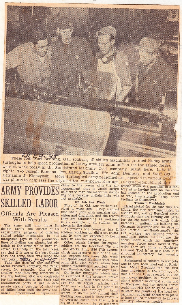 Army Provides Skilled Labor