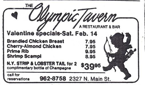 Olympic Tavern Valentine Specials ad