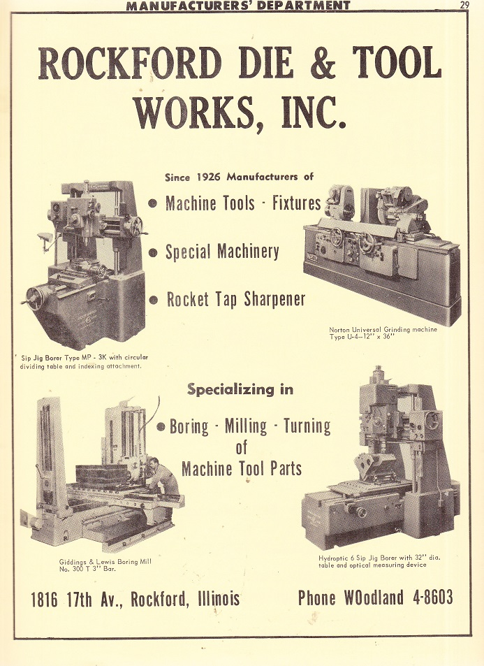Rockford Tool and Die Works Inc  – 1961 ad – RPL's Local History