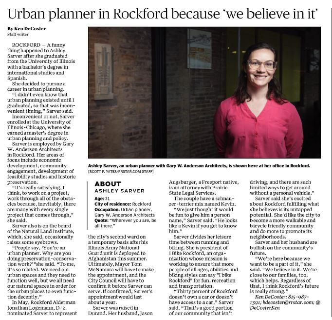 Ashley Sarver, Urban planner in Rockford because 'we believe